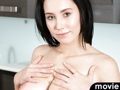 Peeling off her miniskirt dress, Semija shows us that she prefers not to wear a bra to constrain her big knockers. Since she only has a pair of panties to rid herself of, she is quickly nude and enjoying herself as her talented fingers roam her soft bare