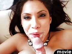 Sexy Latina Aleksa Nicole takes a huge load on her face !