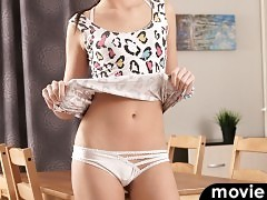 Small tit coed Karoline shows off her super slim body with a tight dress that clings to her slender curves. After peeling off her clothes, then her bra and panties, the bare pussy cutie palms her ass cheeks and then climbs onto the table to work her greed